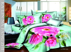 Latest Light Green Background and Colorful Flowers Print 4 Piece Cotton Bedding Sets