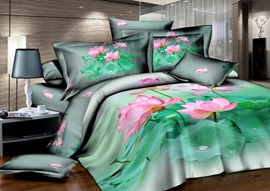 Natural Green Under Color With Pink Flower Printed 4 Piece Cotton Bedding Sets