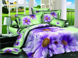 Brilliant 4 Piece Cotton Bedding Sets with Purple Color Flower Pattern