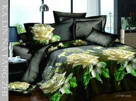 4 Piece Yellow Florals Print Bedding Sets with Cotton