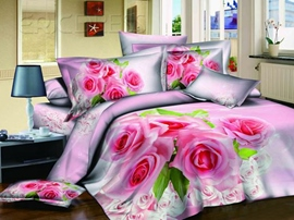 Adorable Pink 4-Piece Cotton Sets With Floral Printing