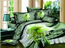 Amazing 4 Piece Cotton Comforter Sets with Super Nature Green