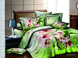 Best Selling Green Background 4 Piece Cotton Comforter Sets with Floral Prints