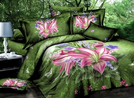Wonderful 4 Piece Flowers Print Comforter Sets