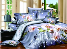 Beautiful Purple Flowers Print 4 Piece Cotton Bedding Sets