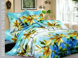 Dreamlike Sky Blue 4 Piece Cotton Comforter Sets with Floral Printing