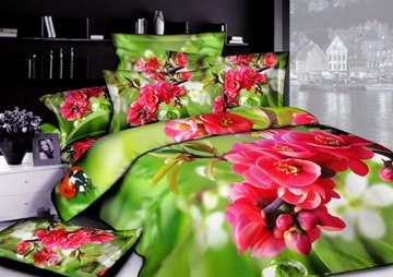 Cute Colorful Florals Active Printed 4 Piece Cotton Comforter Sets