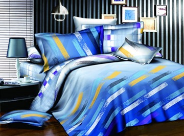 Colorful 4 Piece Stripes Print Comforter Sets with Cotton