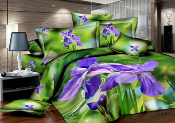 Beautiful Purple Color Flower Printed 4 Piece Cotton Bedding Sets