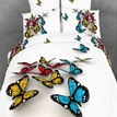 Yellow/Blue 3D Butterfly Print White Color Duvet Cover 4 Piece Bedding Sets