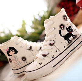 Sweet Canvas Flat Heels with Hand Painted