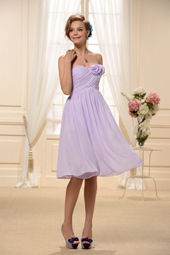 Flowers Empire Waist Short/Mini-length Bridesmaid Dress