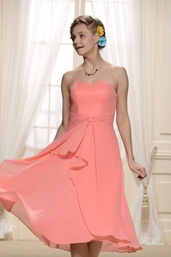 Charming Tiered Pleats Sweetheart Neckline Bridesmaid Dresses