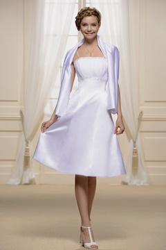 Spaghetti Strap Shirred Empire Short Bridesmaid Dress With Jacket/Shawl