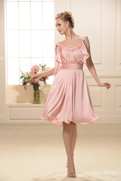 Graceful Straps Knee-Length Bridesmaid Dress