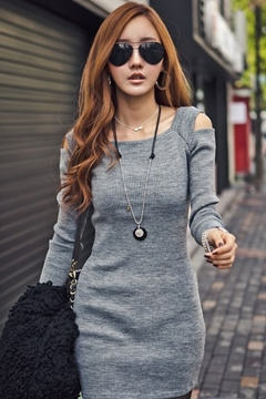 Ericdress Plain Long Sleeve Dress