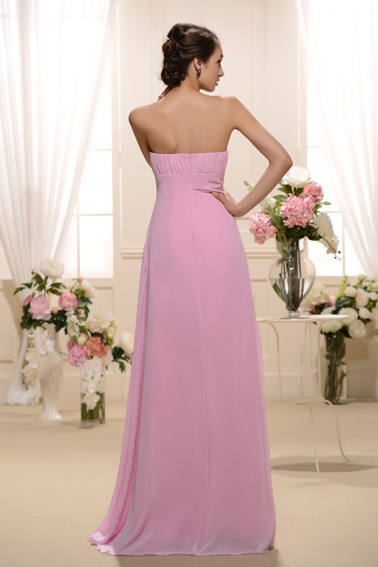 Design Ruched A-Line Strapless Floor-Length Bridesmaid Dress