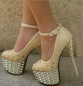 Bridal Shoes with Shining Spikes In Golden Color