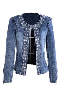 Boutique Rhinestone Paillette Denim Outerwear