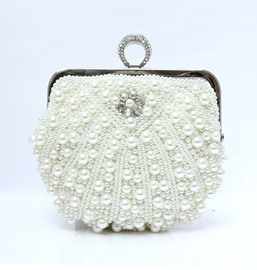 Fascinating White Pearl Wedding Handbag