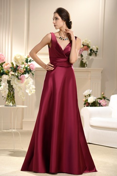 Incredible Ruched A-line V-neck Floor-Length Bridesmaid Dress