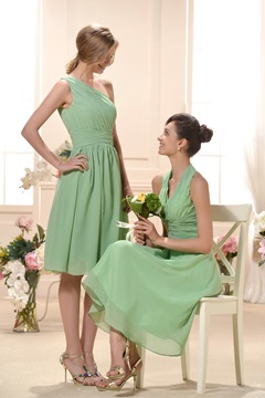 Incredible Ruched Knee-Length One-Shoulder Train Bridesmaid Dress