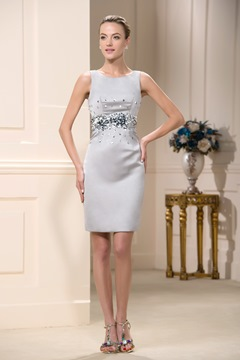 Elegant Sequins Sheath Short/Mini-Length Jewel Mother Of The Bride Dress