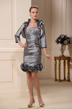 Incredible Pleats Sheath/Column Halter Knee-Length Mother of the Bride Dress
