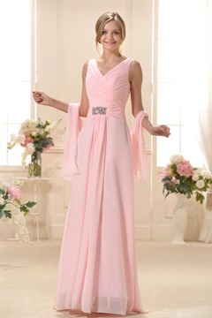 Fashionable Pleats A-Line V-Neck Long Bridesmaid Dress