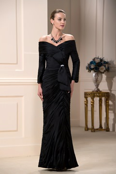 Faddish Draped Bowknot Beaded Floor-Length Off-the-Shoulder Mother of the Bride Dress