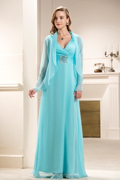 Attractive Beaded A-Line V-Neck Floor-length Empire Waistline Mother of the Bride Dress With Jacket/Shawl