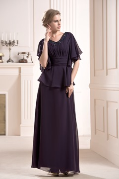 Faddish Beaded Floor-Length V-Neck Half Sleeves Mother of the Bride Dress