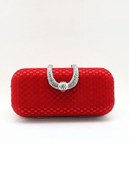 Horn-shaped Decorative Inlay Diamond Buckle Switch Crusty Hand Woven Bridal's Bag