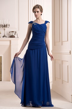 Charming Pleats Beaded Sheath/Column V Neck Floor-length Mother of the Bride Dress