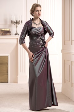 Flowers Sweetheart Neckline Floor-Length Mother of the Bride Dress With Jacket/Shawl
