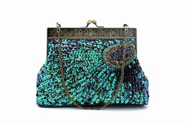 Classic Peacock Handmade Retro Sequin Beaded Bag