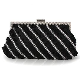 Rhinestone Trim Wrinkling Clutch Bag