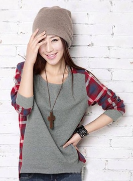 Ericdress Loose Round Neckline Long Sleeves Plaid T-shirt