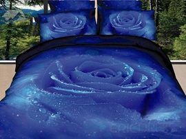 Luxury Blue Rose Print 4 Piece Bedding Sets