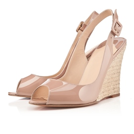 Elegant Patent Leather Upper Wedge Heels Peep Toe Women Sandals