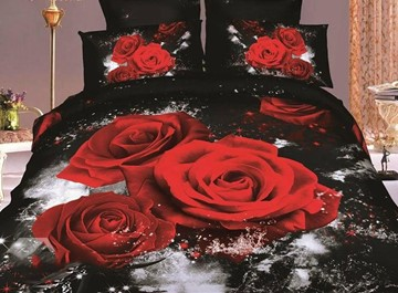 3D Roses with Black Color 4 piece Bedding Sets