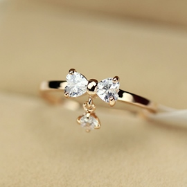 Ericdress Lovely Bowknot Zircon Ring