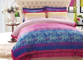 Ericdress Blue Floral 4-Piece Bedding Sets