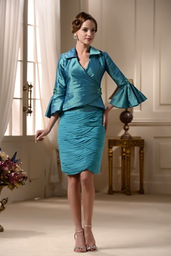 Attractive Tiered Embroidery Sheath Knee-Length 3/4-Length Sleeves Mother of the Bride Dress