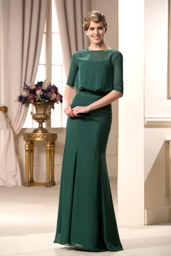 Delicate Mermaid Half Sleeves Floor-Length Mother of the Bride Dress