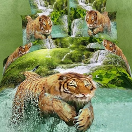 Exquisite Top Quality Tiger Pattern 4 Piece 3D Bedding Sets