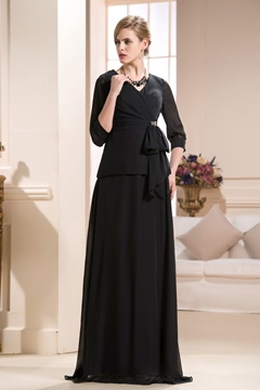 Gorgeous Beaded A-Line V-Neck Half-Sleeves Floor-Length Mother of the Bride Dress