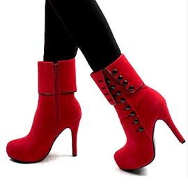 Popular Side Zipe With Button Short Ankle Boots