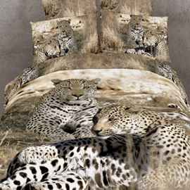 Unique Top Quality Cotton Leopard 4 Piece 3D Bedding Sets