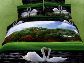 Glamorous Swan Couples Pattern 4 Piece 3D Bedding Sets
